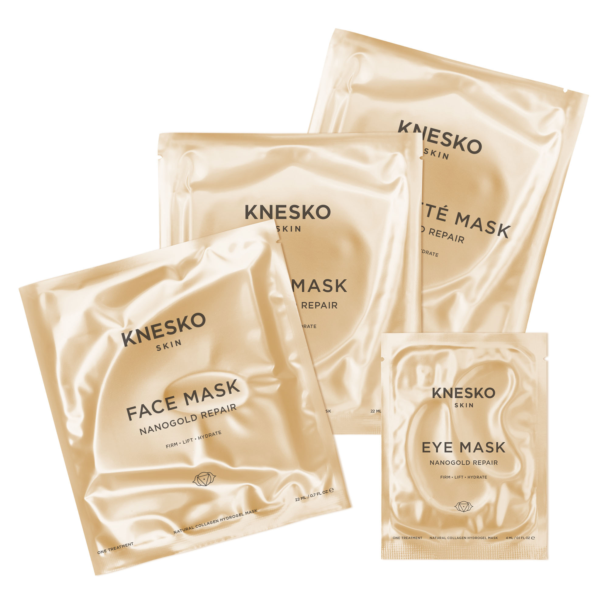 Knesko nanogold repair face, eye, lip and decollete mask set pack