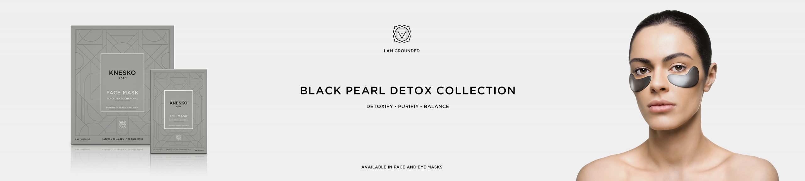 Knesko Black Pearl Charcoal Detox Collection - Eye Mask on Model